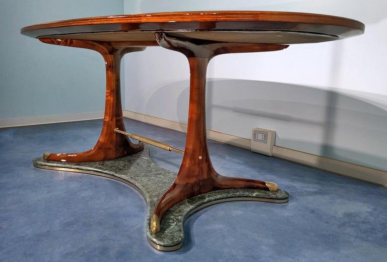 Italian Mid-Century Oval Dining Table in Hardwood by Vittorio Dassi, 1950s For Sale 2