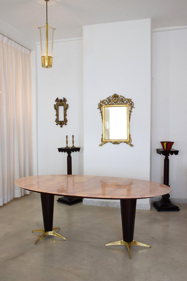 Mid-Century Modern Italian Midcentury Oval Marble Dining Table, 1950s For Sale