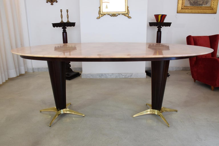 Italian Midcentury Oval Marble Dining Table, 1950s For Sale 2