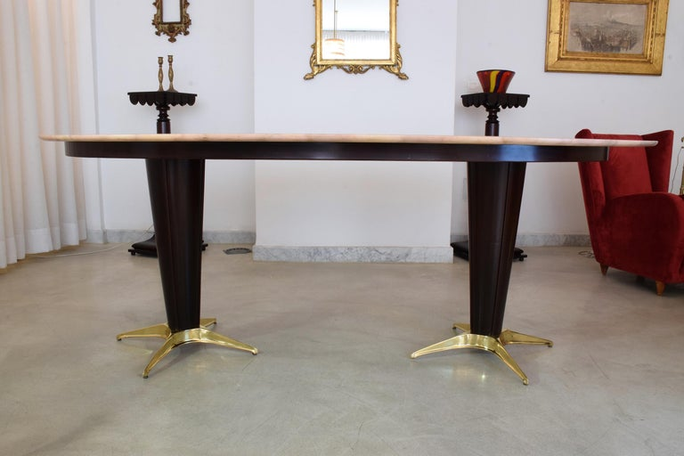 Italian Midcentury Oval Marble Dining Table, 1950s For Sale 3
