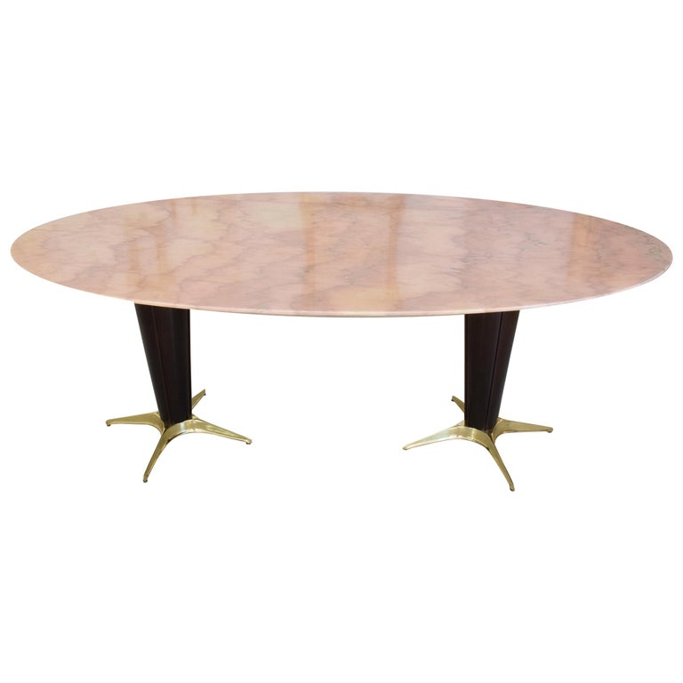 Italian Midcentury Oval Marble Dining Table, 1950s For Sale