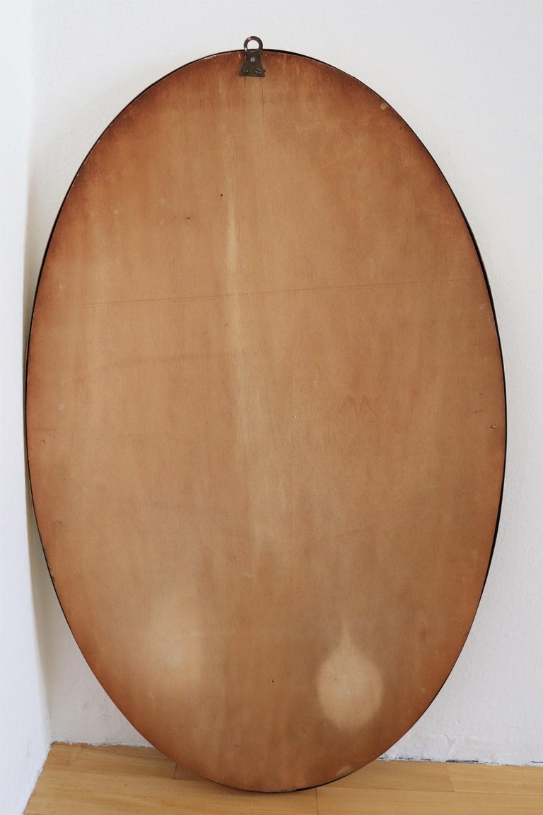 Italian Midcentury Oval Wall Mirror with Brass Frame, 1950s For Sale 5