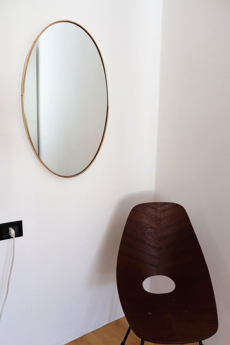 Mid-Century Modern Italian Midcentury Oval Wall Mirror with Brass Frame, 1950s For Sale