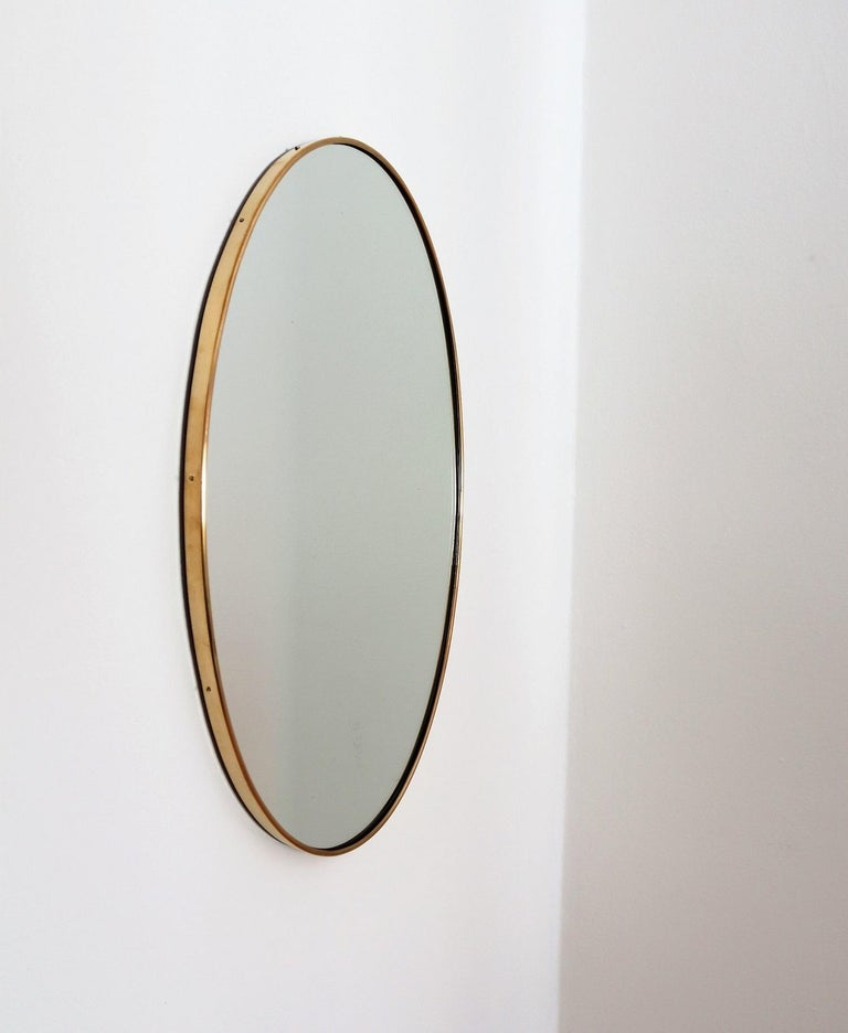 Mid-20th Century Italian Midcentury Oval Wall Mirror with Brass Frame, 1950s For Sale