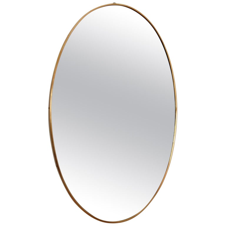 Italian Midcentury Oval Wall Mirror with Brass Frame, 1950s For Sale