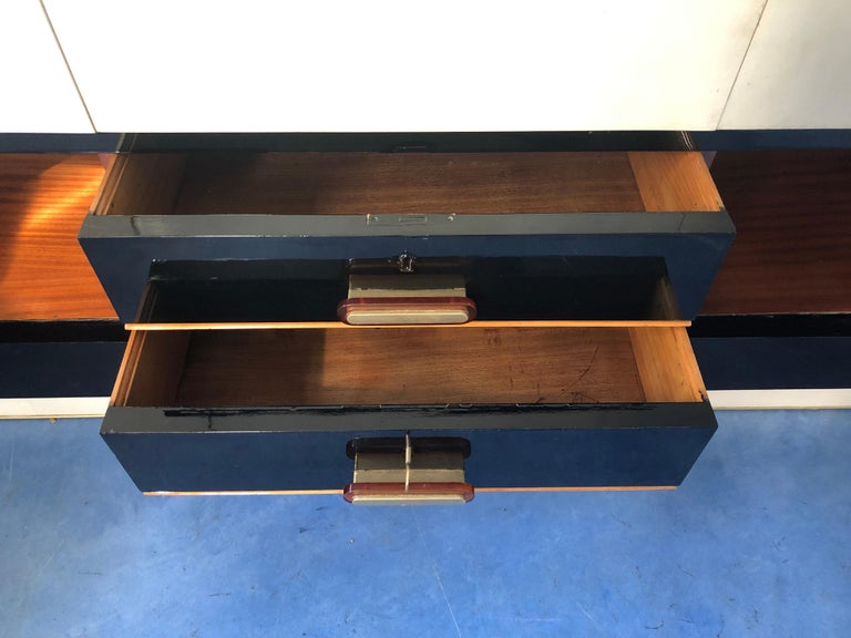 Mid-Century Modern Italian Midcentury Parchment Black Lacquered Sideboard, 1950 For Sale