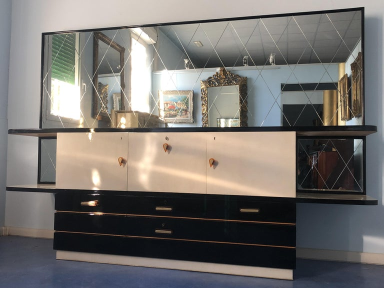 Ebonized Italian Midcentury Parchment Black Lacquered Sideboard, 1950 For Sale