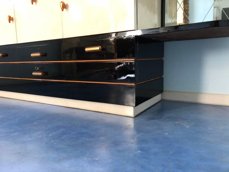 Mid-20th Century Italian Midcentury Parchment Black Lacquered Sideboard, 1950 For Sale