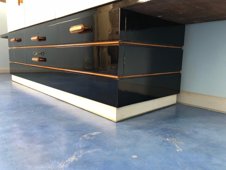 Maple Italian Midcentury Parchment Black Lacquered Sideboard, 1950 For Sale