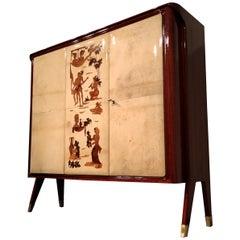 Italian Mid-Century Parchment Cabinet Bar by Vittorio Dassi, 1950s