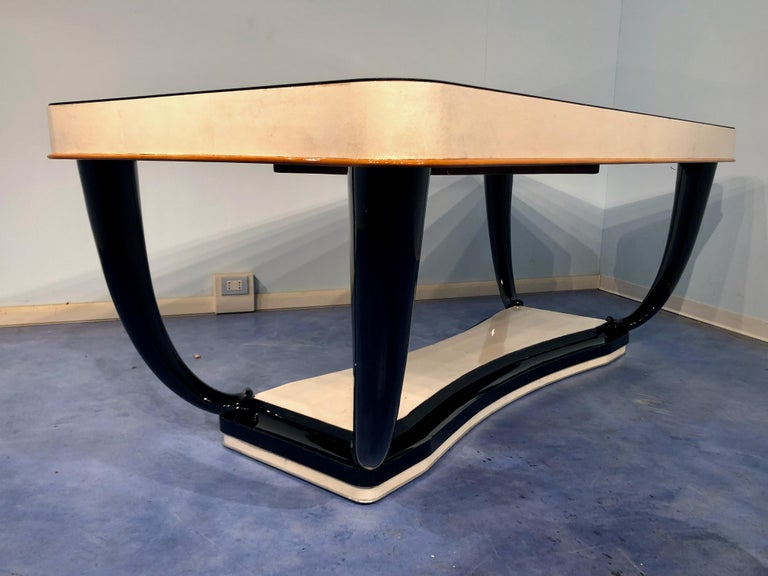 Italian Midcentury Parchment Dining Table, 1950s For Sale 7