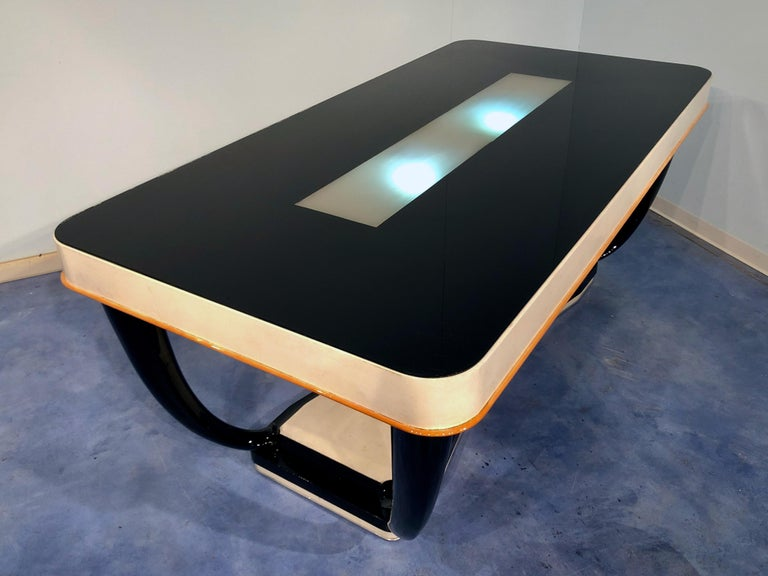 Italian Midcentury Parchment Dining Table, 1950s For Sale 8