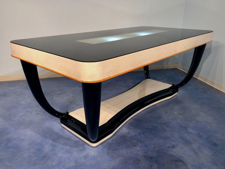 Italian Midcentury Parchment Dining Table, 1950s For Sale 9
