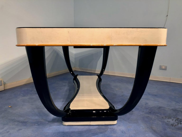 Italian Midcentury Parchment Dining Table, 1950s For Sale 11