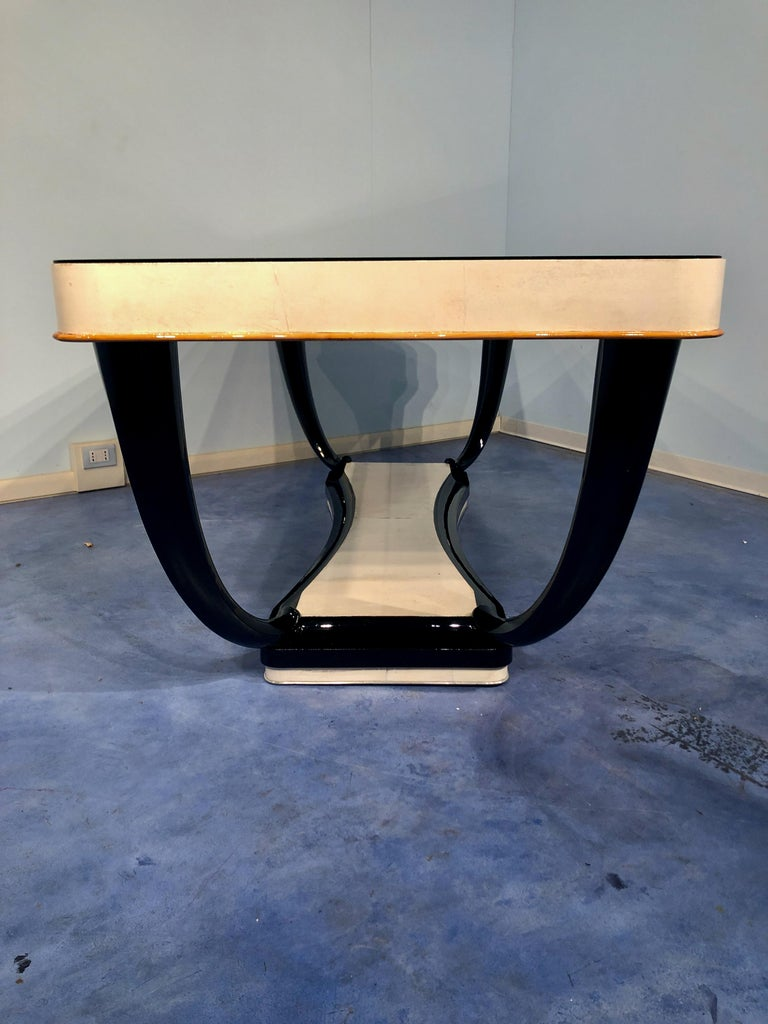 Italian Midcentury Parchment Dining Table, 1950s For Sale 13