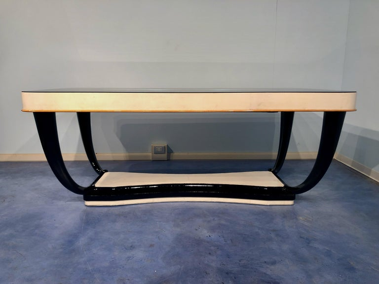 Mid-Century Modern Italian Midcentury Parchment Dining Table, 1950s For Sale