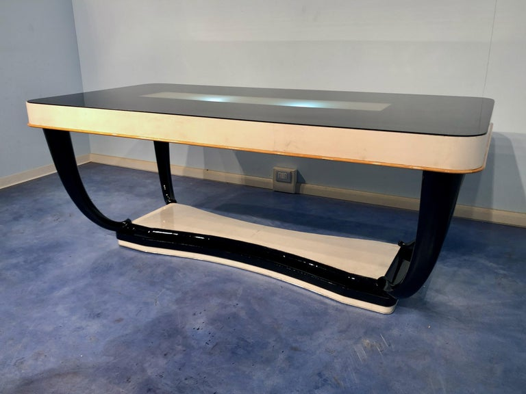 Mid-20th Century Italian Midcentury Parchment Dining Table, 1950s For Sale