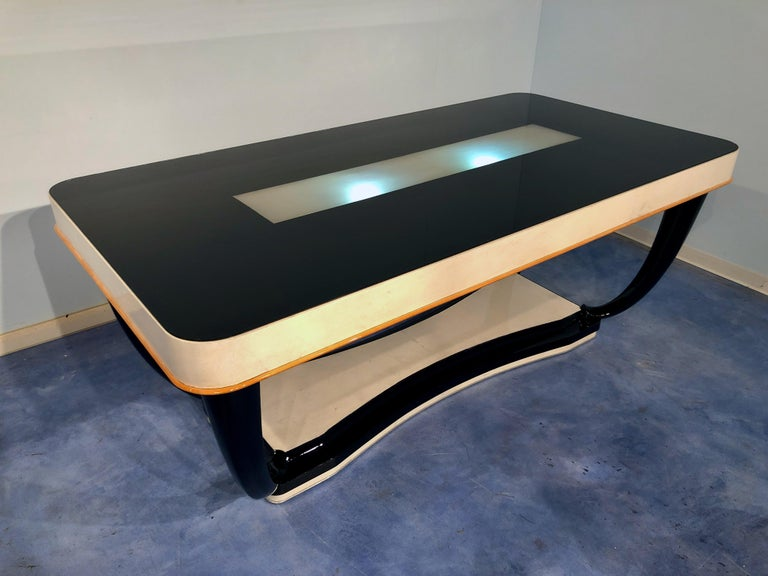 Italian Midcentury Parchment Dining Table, 1950s For Sale 1
