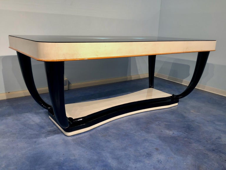 Italian Midcentury Parchment Dining Table, 1950s For Sale 2