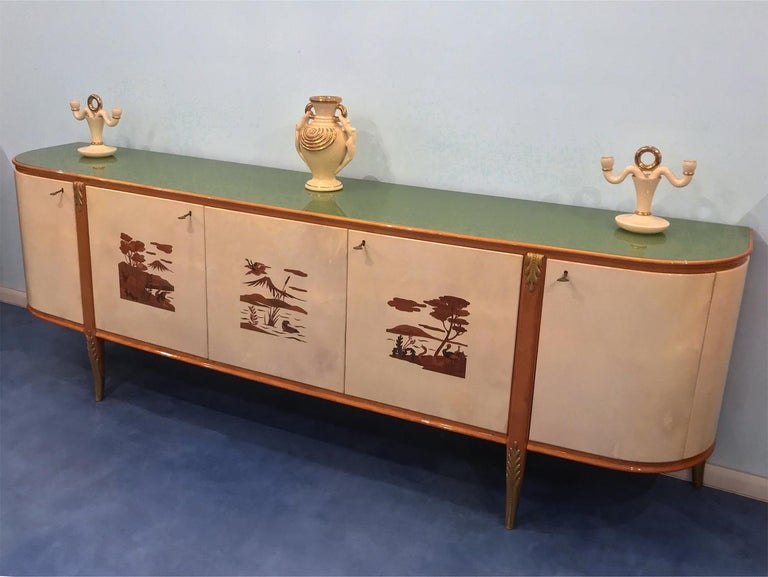 Italian Midcentury Parchment Sideboard by Giovanni Gariboldi, 1950s For Sale 4