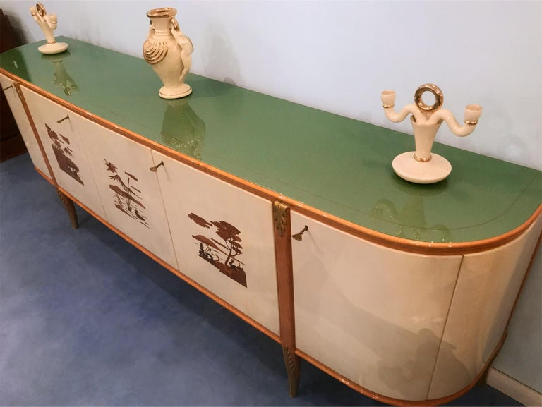 Italian Midcentury Parchment Sideboard by Giovanni Gariboldi, 1950s For Sale 5