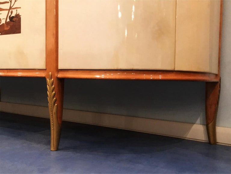 Italian Midcentury Parchment Sideboard by Giovanni Gariboldi, 1950s For Sale 9