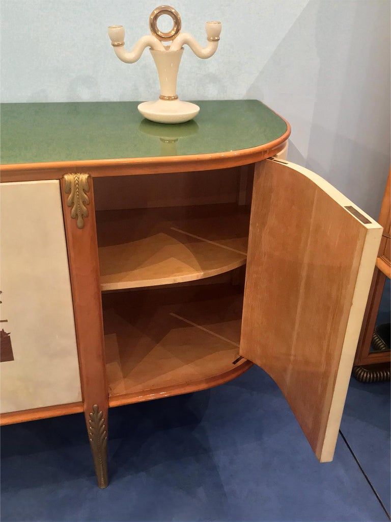 Italian Midcentury Parchment Sideboard by Giovanni Gariboldi, 1950s For Sale 10