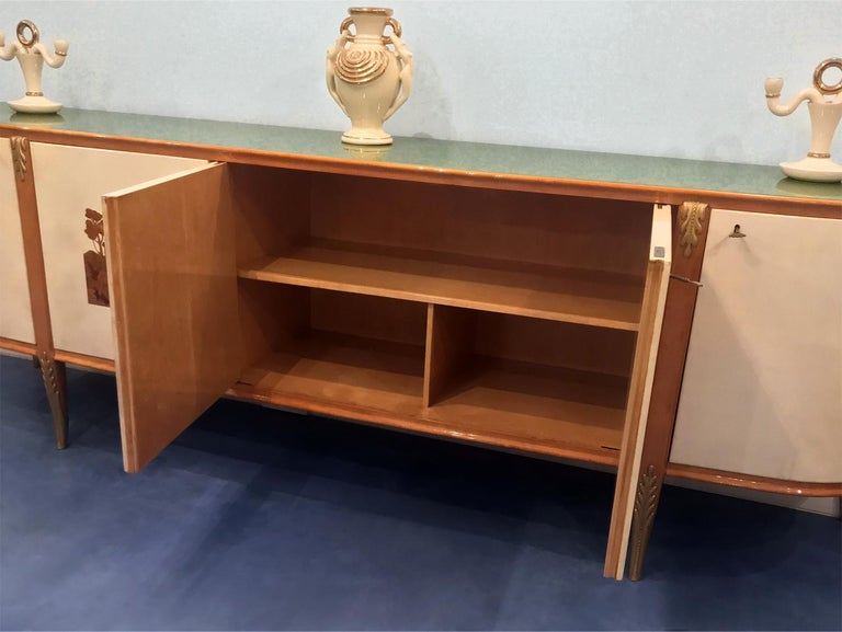 Italian Midcentury Parchment Sideboard by Giovanni Gariboldi, 1950s For Sale 11