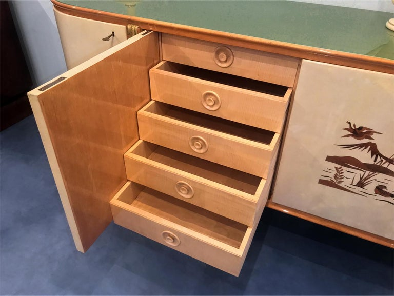 Italian Midcentury Parchment Sideboard by Giovanni Gariboldi, 1950s For Sale 13