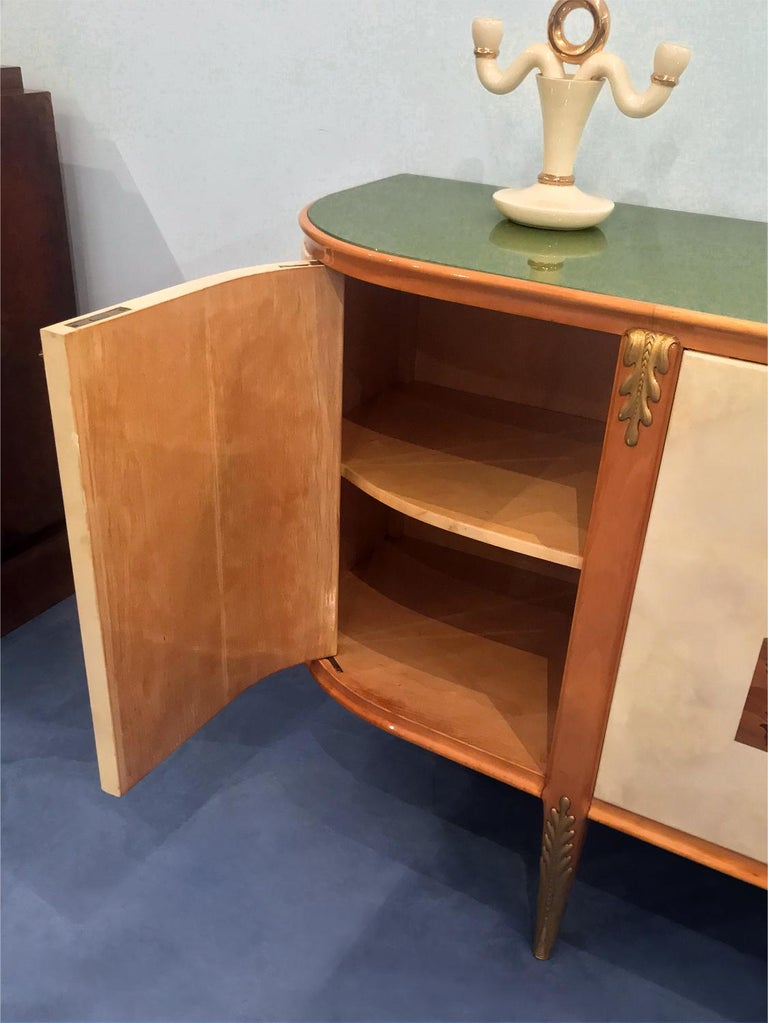 Italian Midcentury Parchment Sideboard by Giovanni Gariboldi, 1950s For Sale 14