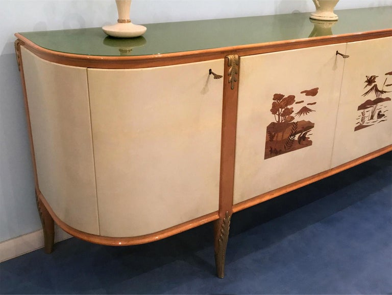Mid-Century Modern Italian Midcentury Parchment Sideboard by Giovanni Gariboldi, 1950s For Sale