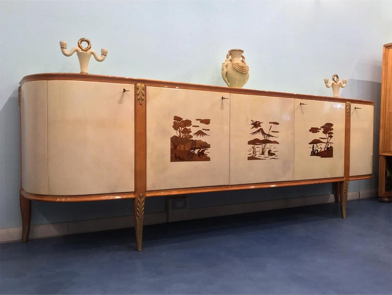 Mid-20th Century Italian Midcentury Parchment Sideboard by Giovanni Gariboldi, 1950s For Sale