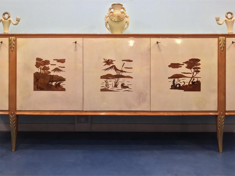 Italian Midcentury Parchment Sideboard by Giovanni Gariboldi, 1950s For Sale 1