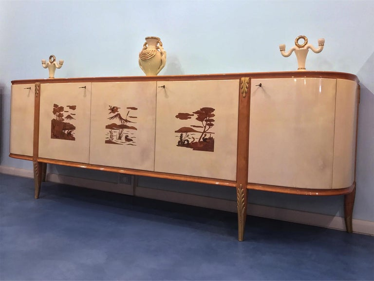 Italian Midcentury Parchment Sideboard by Giovanni Gariboldi, 1950s For Sale 2