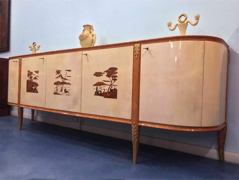 Italian Midcentury Parchment Sideboard by Giovanni Gariboldi, 1950s For Sale 3