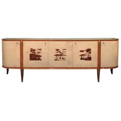 Italian Midcentury Parchment Sideboard by Giovanni Gariboldi, 1950s