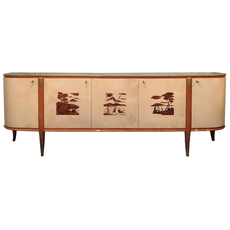 Italian Midcentury Parchment Sideboard by Giovanni Gariboldi, 1950s For Sale