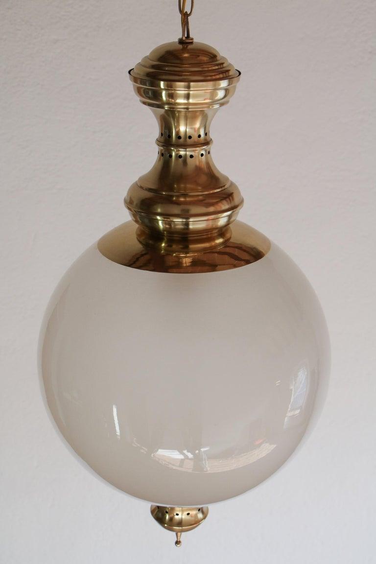 Frosted Italian Mid-Century Pendant Lamp by Luigi Caccia Dominioni Model LS1, 1950s For Sale