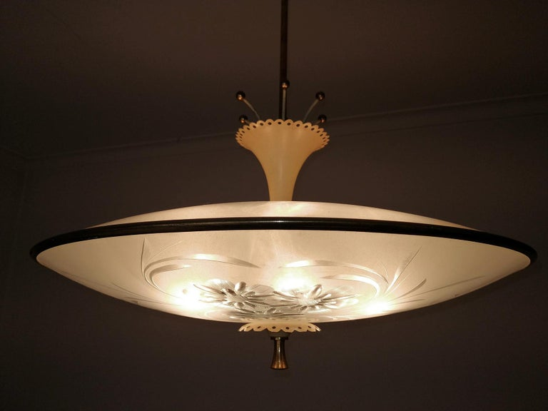 Italian Midcentury Pietro Chiesa UFO for Fontana Art Glass 6-Light Chandelier For Sale 3