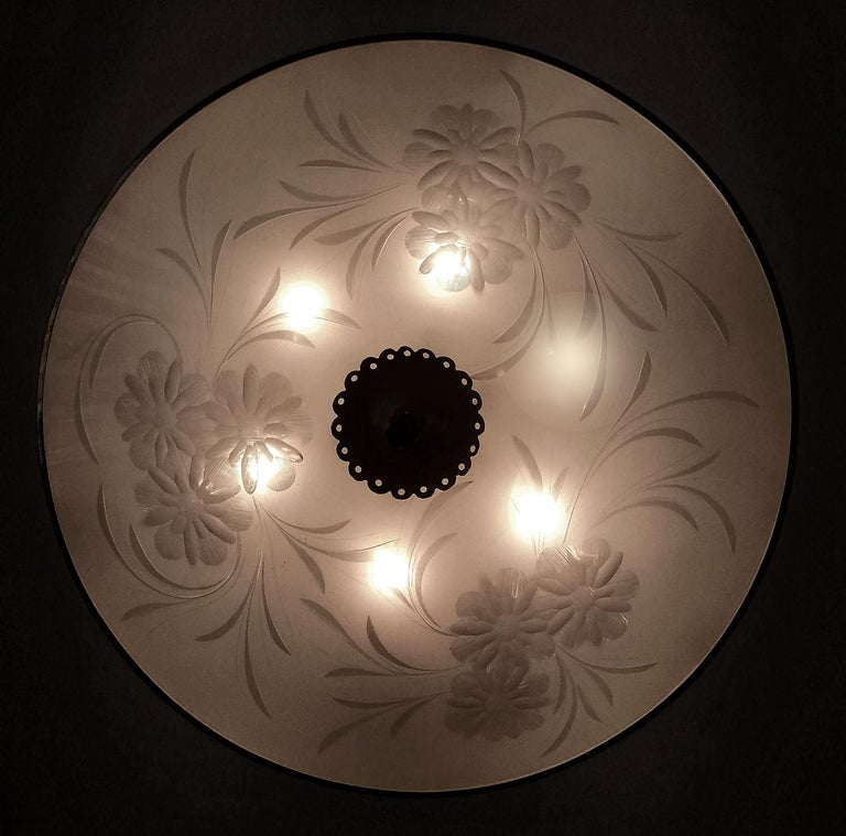 Italian Midcentury Pietro Chiesa UFO for Fontana Art Glass 6-Light Chandelier For Sale 4