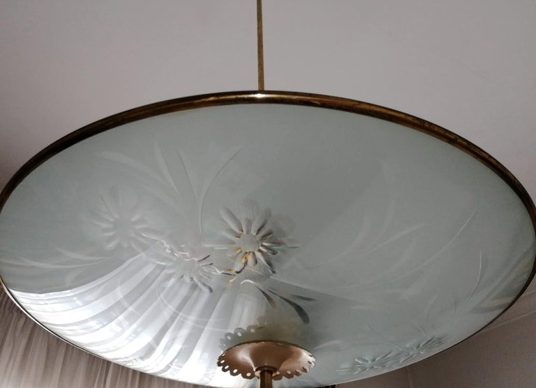 Italian Midcentury Pietro Chiesa UFO for Fontana Art Glass 6-Light Chandelier For Sale 8