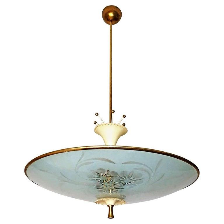 Italian Midcentury Pietro Chiesa UFO for Fontana Art Glass 6-Light Chandelier For Sale 12