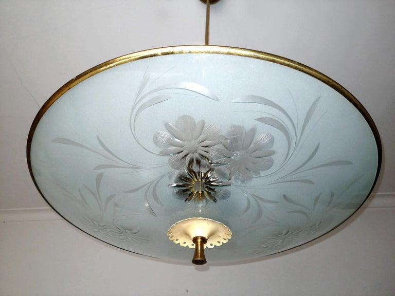 Art Deco Italian Midcentury Pietro Chiesa UFO for Fontana Art Glass 6-Light Chandelier For Sale
