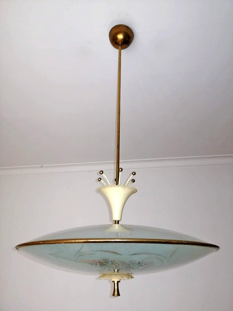 Etched Italian Midcentury Pietro Chiesa UFO for Fontana Art Glass 6-Light Chandelier For Sale