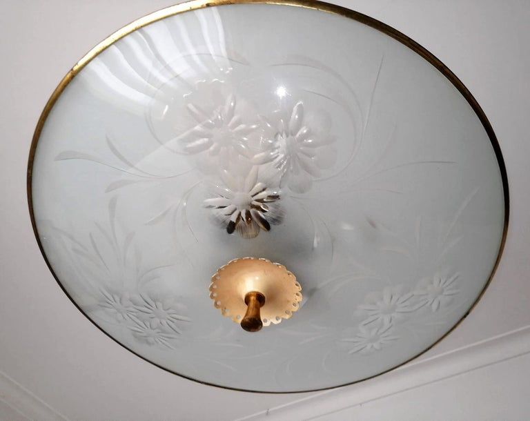 Italian Midcentury Pietro Chiesa UFO for Fontana Art Glass 6-Light Chandelier In Good Condition For Sale In Coimbra, PT