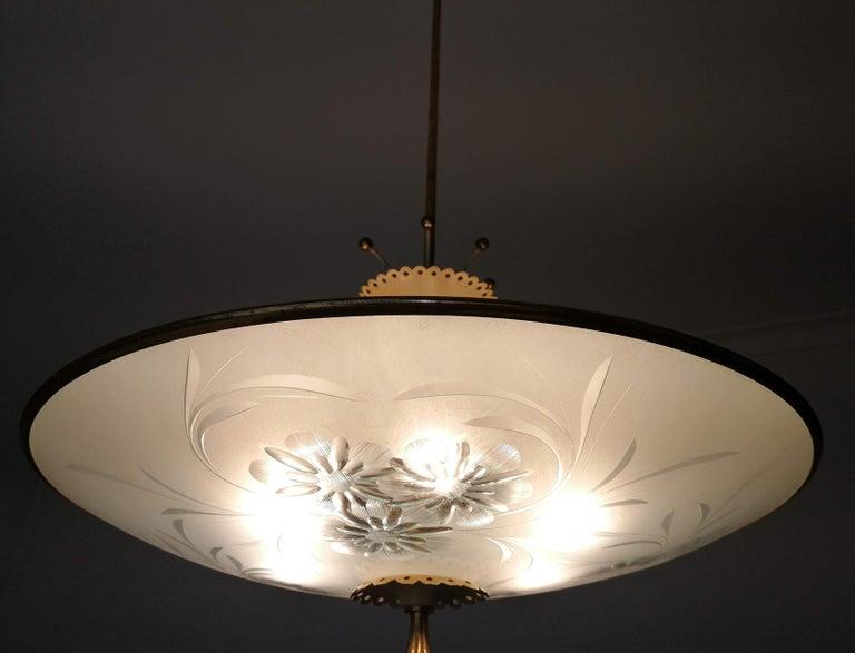 Italian Midcentury Pietro Chiesa UFO for Fontana Art Glass 6-Light Chandelier For Sale 2