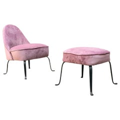 Italian Midcentury Pink Velvet and Metal Armchair and Pouf, 1950s
