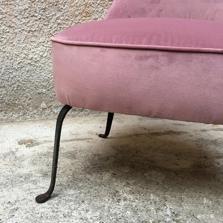 Italian Midcentury Pink Velvet and Metal Legs Armchairs with Pouf, 1950s For Sale 5