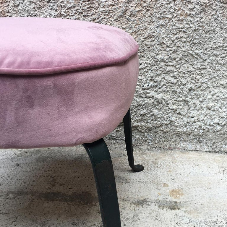Italian Midcentury Pink Velvet and Metal Legs Armchairs with Pouf, 1950s For Sale 11