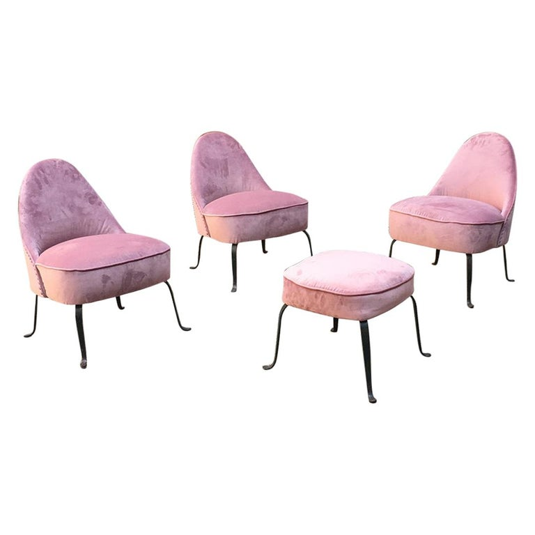 Italian Midcentury Pink Velvet and Metal Legs Armchairs with Pouf, 1950s For Sale
